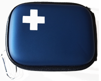 Blue Compact Hard Shell First Aid Kit (sample cost $9.00)