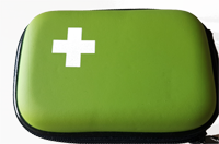 Green Compact Hard Shell First Aid Kit (sample cost $8.50)
