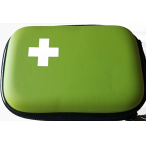 Image of green small first aid kit.